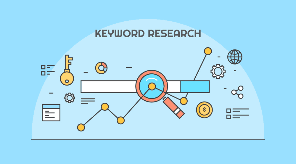 Keyword research background blue
